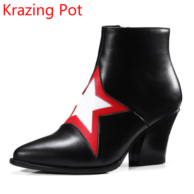 2018 New Arrival Genuine Leather Fashion Winter Boots Five-star Patterns Thick Heels Women Ankle Handmade Sexy Chelsea Boots L97 fashion genuine leather chelsea boots handmade keep warm winter boots round toe thick heels concise ankle boots for women l08