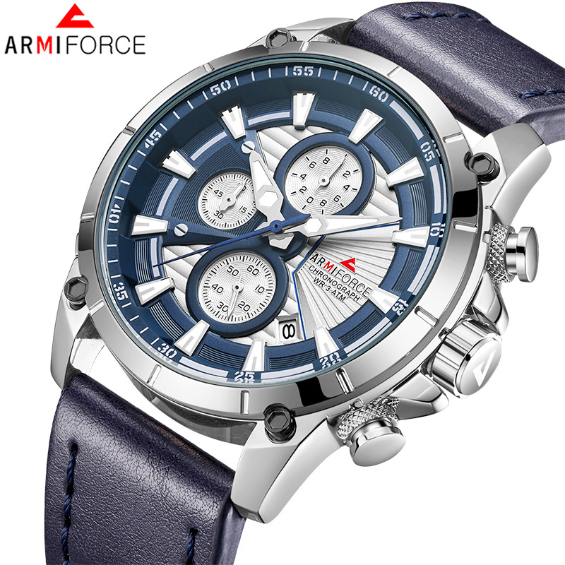 Men Watches ARMIFORCE Fashion Quartz Watch Men Military Leather Chronograph Sports Wristwatch Male Clock Relogio Masculino longbo men military watches complex big dial leather strap wristwatch male outdoor sports quartz watch life waterproof uhren men