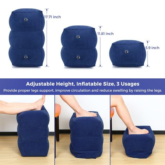 Du lịch Inflatable Foot Rest Gối Có Thể Điều Chỉnh Chiều Cao Xách Tay Chân Còn Lại Gối Đệm Mang Túi Máy Bay Xe Nhà Văn Phòng Chân