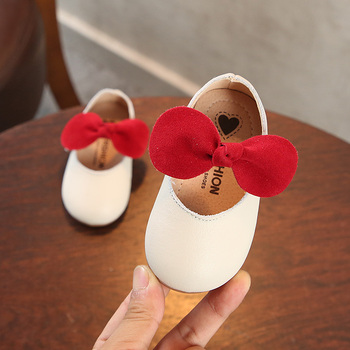 Baby Leather Shoes Girls 0 1-3 Years Soft Bottom Non-slip Baby Toddler Shoes Genuine Leather Children Princess Shoes