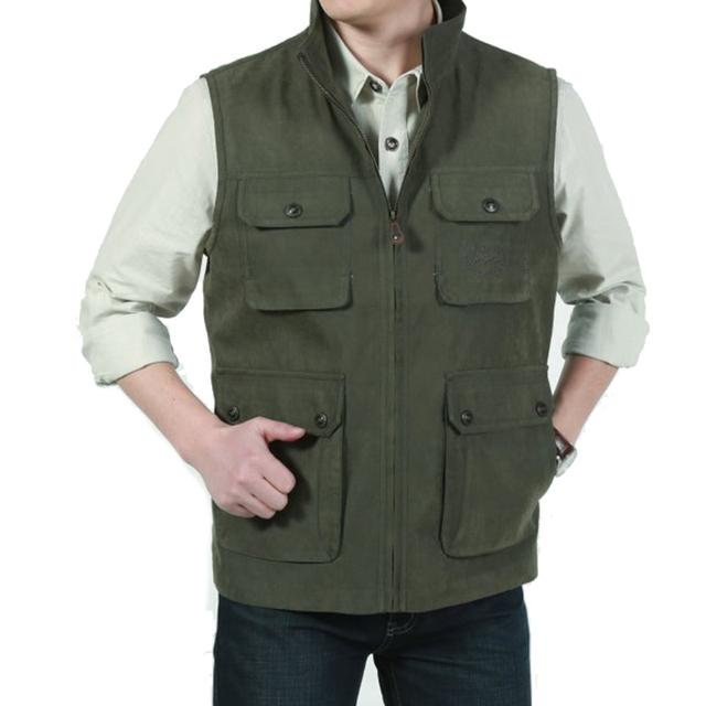 2017 hombres chaleco de algodón de los hombres ocasionales bolsillos regular clothing plus de gran Tamaño 3XL de Dos Colores de Primavera Chaleco Grueso Hombres Soild cremalleras