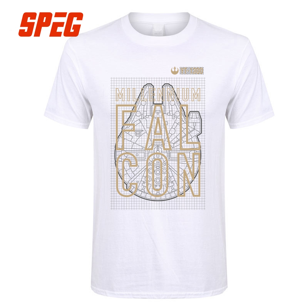 Tee Shirts Camisetas Star Wars YT 1300 Millennium Falcon Adult Round Collar short T-Shir ...