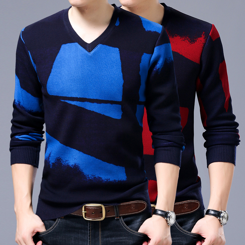 Autumn And Winter Warm Pullovers Man Fashion Design V Neck Long Sleeve Bussiness Sweter Hombre Asia Size M~3XL