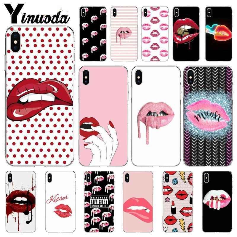 Yinuoda Cô Gái Sexy Kylie Jenner Môi Kiss DIY Cao Cấp Cao Cấp Bảo Vệ Dành Cho iPhone 8 7 6 6S Plus 5 5S SE XR X XS Max Coque