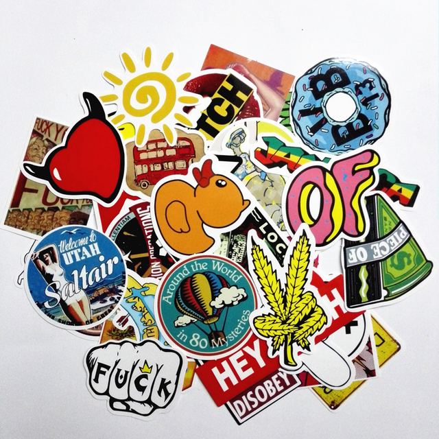 2017 50pcs Random Mixed Stickers For Cartoon Doodle Decals Luggage Laptop Car Styling Skateboard Home Decor Sticker Pegatina