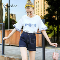 Qlychee Cute Floral Print Casual Blouse V Neck Short Flare Sleeve Basic Tops Blusas Fashion Ladies