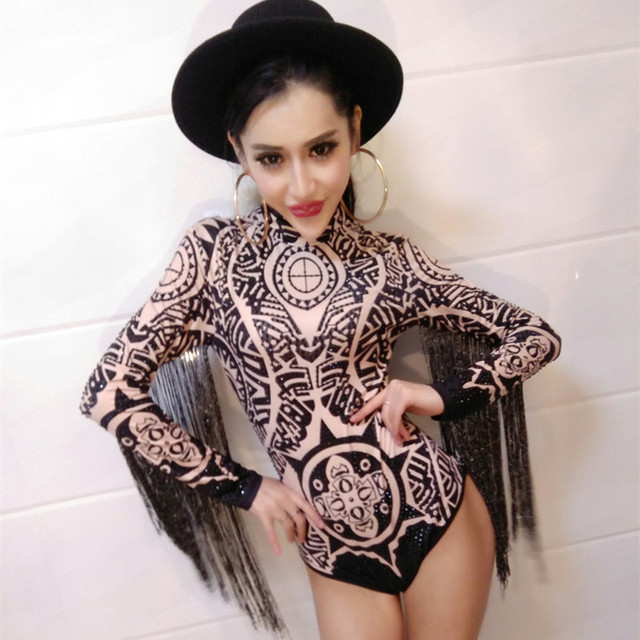 New DS performance Rhinestone Outfit DJ costume women Singer Sexy Club  Printing Sequin Tassel Long Sleeve Bodysuit Jazz dresses 5e91871db280
