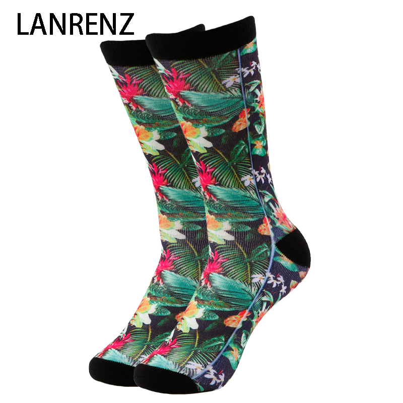 2018 Tropical flower printing Men and women fashion Funny socks 3d printed socks 200 knitting oil painting compression socks