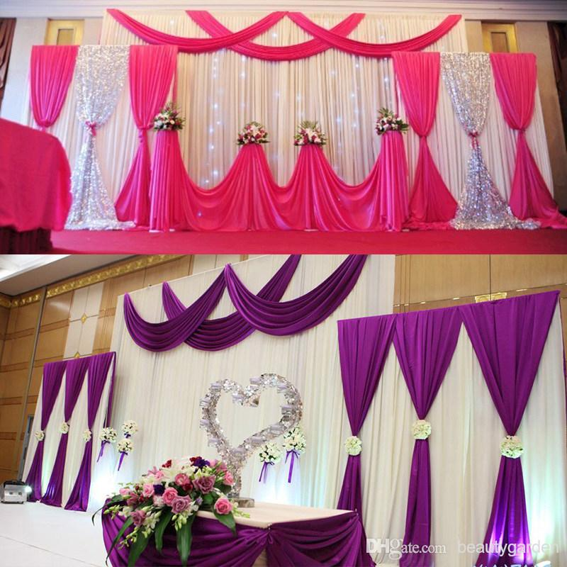 Wedding Party Background Fabric Satin Curtain Drape Stage