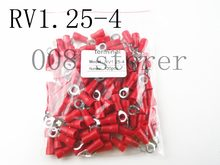 RV1.25-4 Merah Cincin Insulated Kawat Konektor Listrik Crimp Terminal Kabel Kawat Konektor 100 PCS RV1-4 RV RV1.25-4(China)