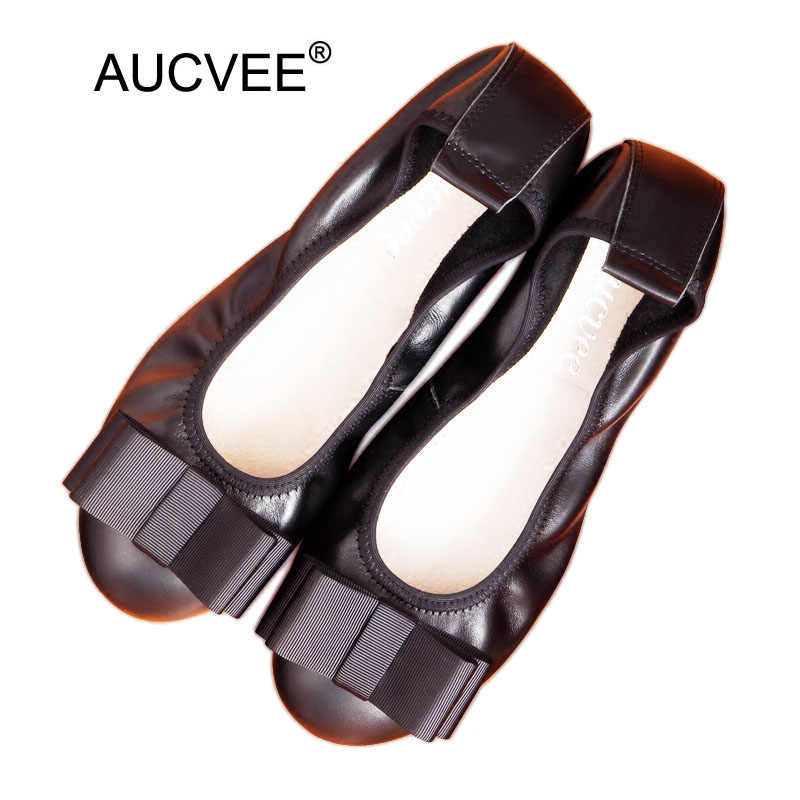Hot Selling Women Genuine Leather Flats Fashion Bow Round Toe Slip-on Ballet Flats For Women Big Size 34-43 Moccasins Loafers new round toe slip on women loafers fashion bow patent leather women flat shoes ladies casual flats big size 34 43 women oxfords