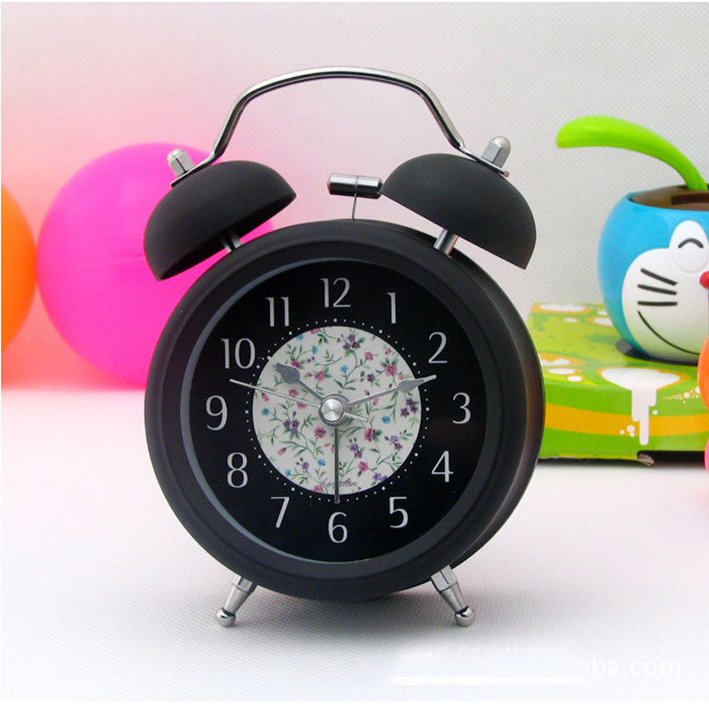 Classic Mini 3 inch Metal Double Bell Desk Table Alarm Clock Silent Quartz clock with Nightlight