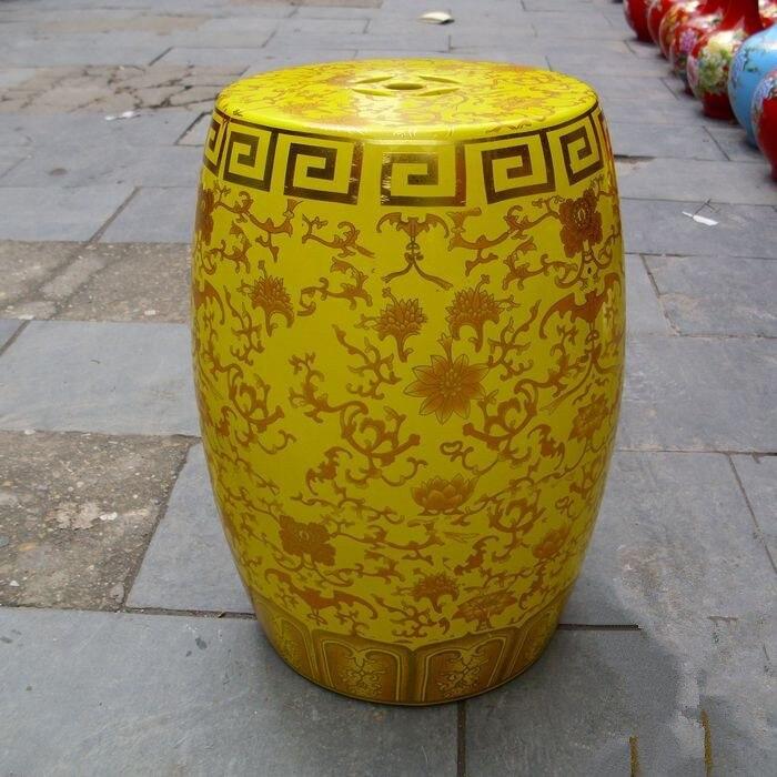 Yellow Chinese Antique Garden Stools Home Drum Porcelain Garden Stool  Ceramic Stool