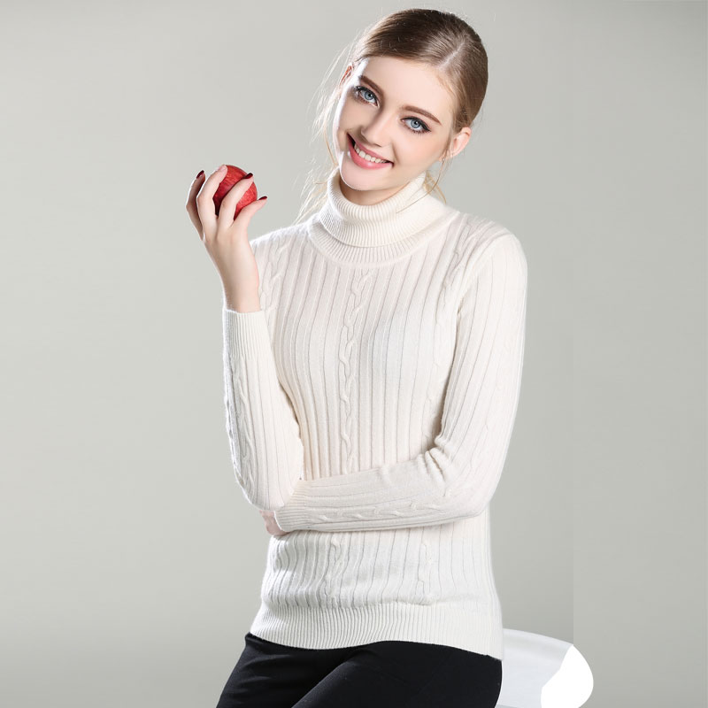 New Arrived 100% Pure Cashmere TOP quality Knitted thick turtleneck Pullovers slim sweaters for women ladys wholesale