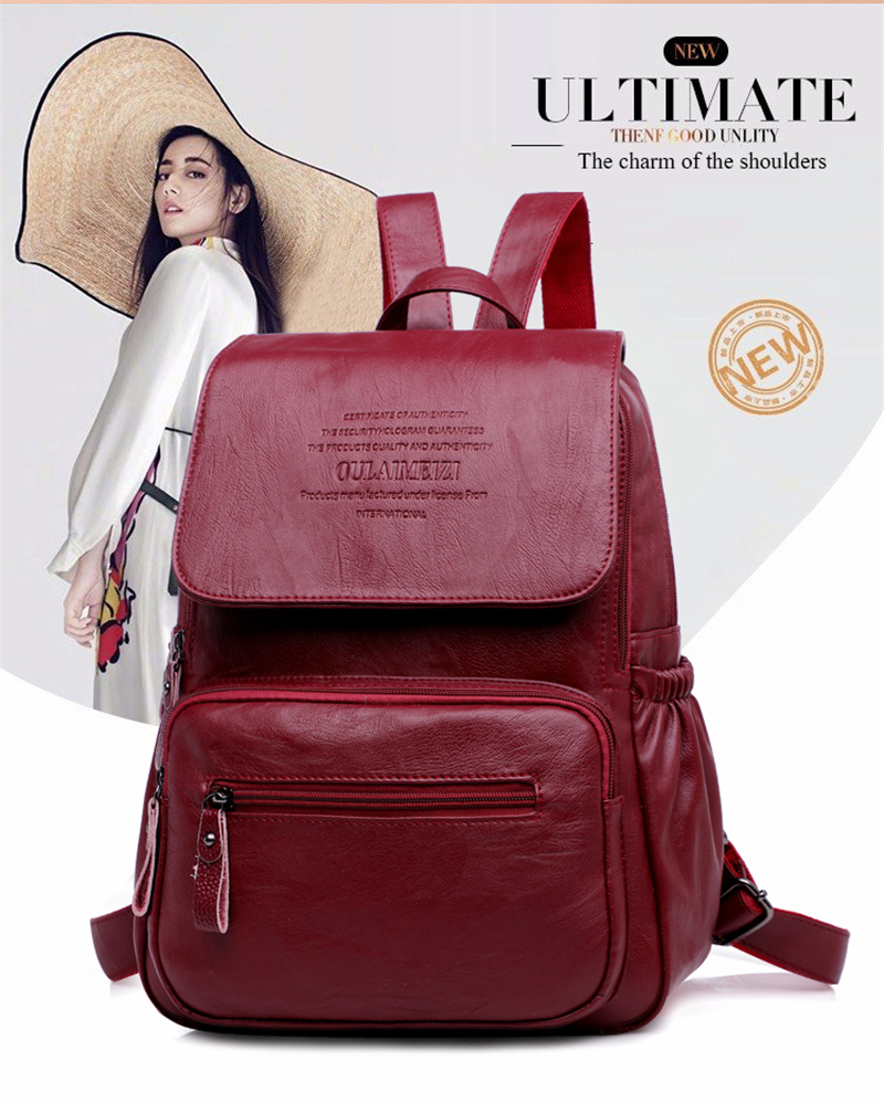 HTB1K9SgRVzqK1RjSZFoq6zfcXXaO 2019 Women Leather Backpacks High Quality Ladies Bagpack Luxury Designer Large Capacity Casual Daypack Sac A Dos Girl Mochilas