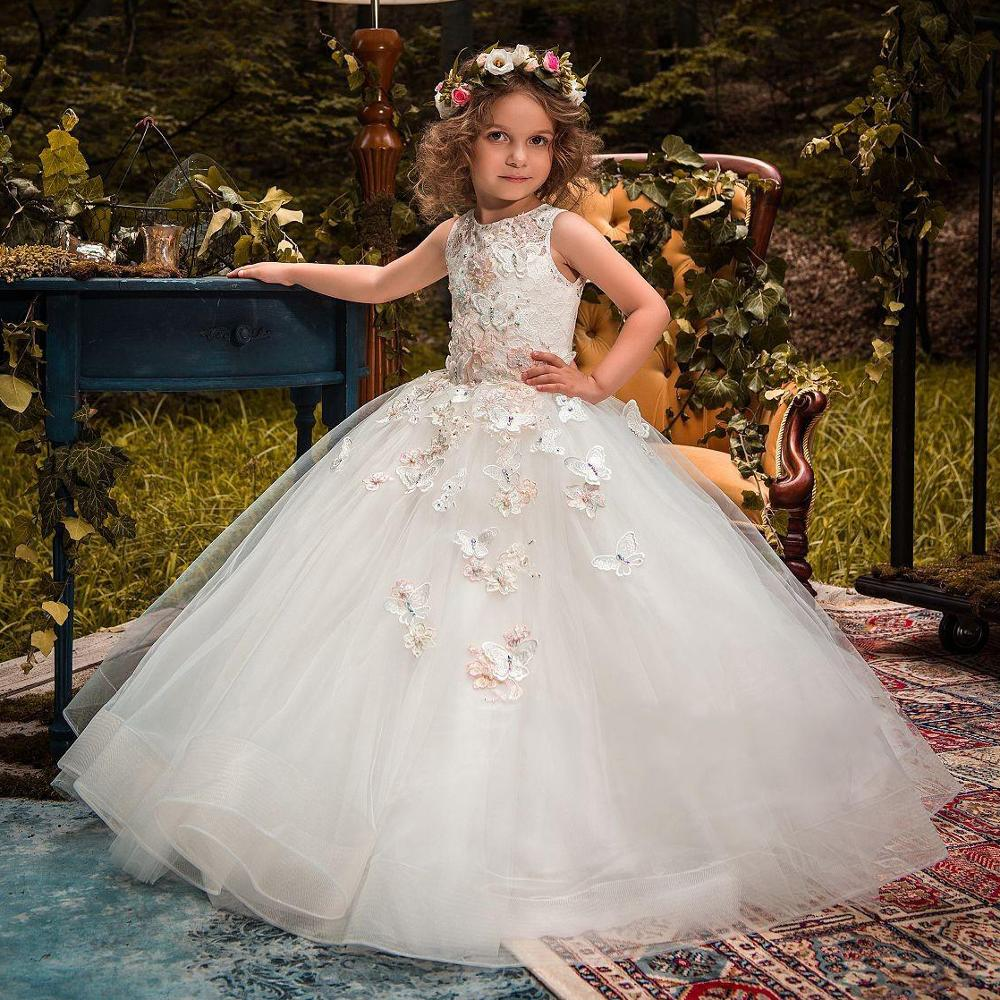 2-14Y   Flower     Girl     Dresses   Embroidered   Flower   Formal Party Ball Gown Prom Princess Bridesmaid Wedding Children First Communion Tu