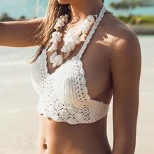 1 X Women Lady Sunmmer Beach Crochet Lace Bralette Knitted Bra Boho Beach Bikini Halter Cami Tank Crop Top