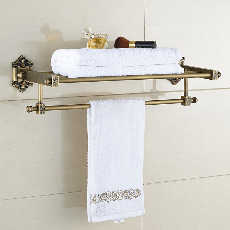 Luxury Towel Holder Antique Brass Towel Bar Bathroom Towel Rack Bathroom Towel Shelf Bathroom Accessories zgrk foldable antique brass bath towel rack active bathroom towel holder double towel shelf bathroom accessories 96031 mh