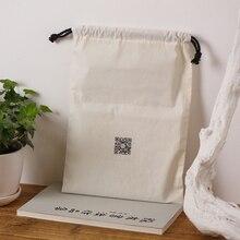 Оптовая индивидуальный логотип мешок хлопка бежевый drawstring сумка упаковка чая бесплатная доставка