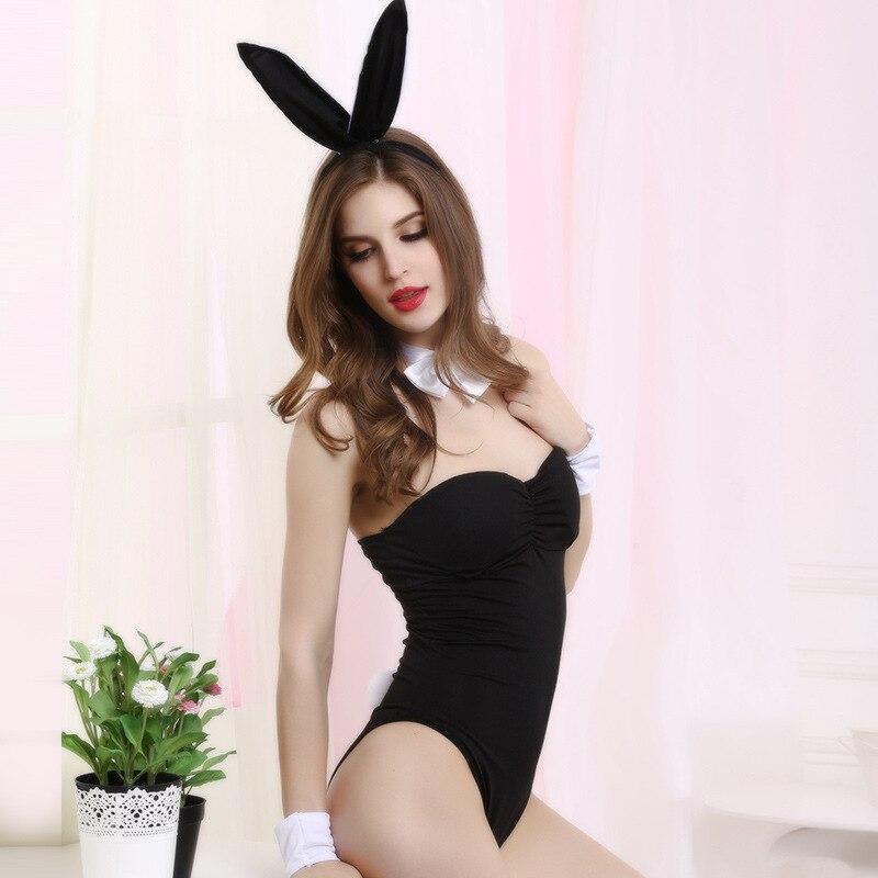 Sexy Wild Fantasy Leopard Strapless Teddy Body suit with Bunny Ears Lingerie Set Rabbit Nightgown Fancy Erotic Sleepwear Women