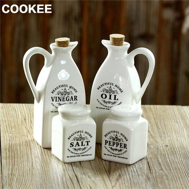 four piece High grade rose leakage proof kitchen gravy boats oil bottle/soy/vinegar cruet set kitchen supplies