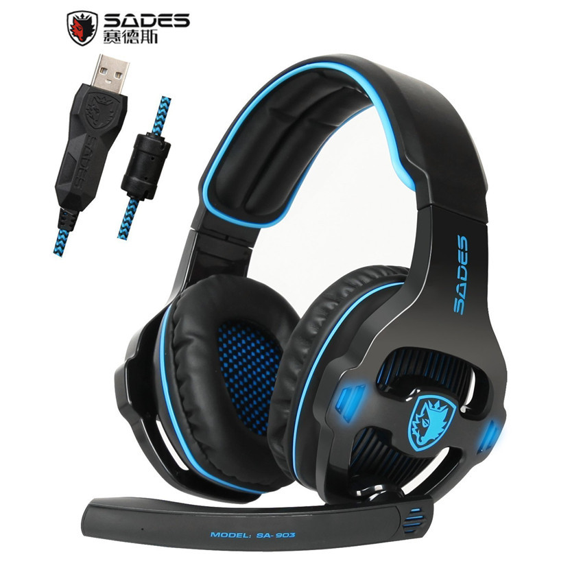 Best PC Gaming Headphones for Computer Sades SA-903 USB 7.1 Surround Sound Gaming Headset Bass Casques With Microphone Mic LED sades sa 902 gaming headphones with microphone mic led light usb 7 1 surround sound pc headset gaming earphone for compuer gamer
