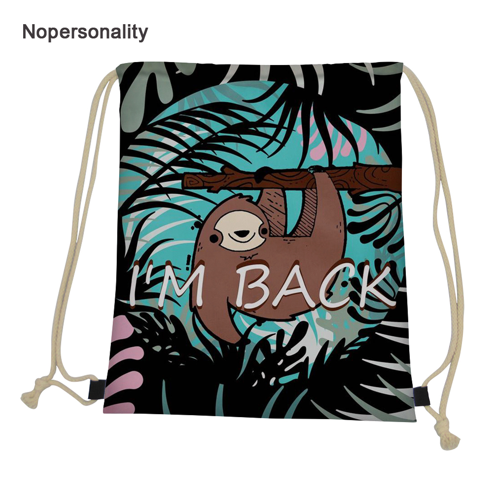 Nopersonality Cute Sloth Print Drawstring Bag For Women Portable Kids Travel Storage Bag Daily Cinch Sack School Backpacks