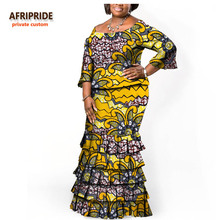 17 AFRIPRIDE Sügis-Aafrika naised Kaheosaline ülikond pool varrukad ülemine + kattuvad plisseeritud põrandapõrandad afrikas stiilis A722610