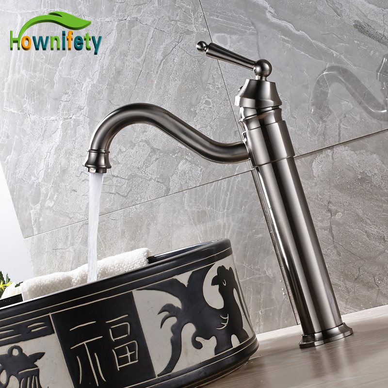 Nickel Brushed High Quality Solid Brass Bathroom Sink Faucet Single Handle Countertop Mixer Tap with Hot and Cold Water bathroom sink faucet single handle mixer tap hot and cold water mixer tap nickel brushed