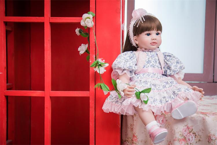 60cm Silicone Reborn Girl Baby Doll Toys 24inch Vinyl Princess Toddler Babies Dolls Fashion Birthday Gift For Child Xmas Present new fashion design reborn toddler doll rooted hair soft silicone vinyl real gentle touch 28inches fashion gift for birthday