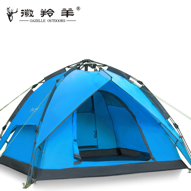 3-4 people camping emblem antelope outdoor tent Double automatic rain camping family outing than double shipping outdoor double layer 10 14 persons camping holiday arbor tent sun canopy canopy tent
