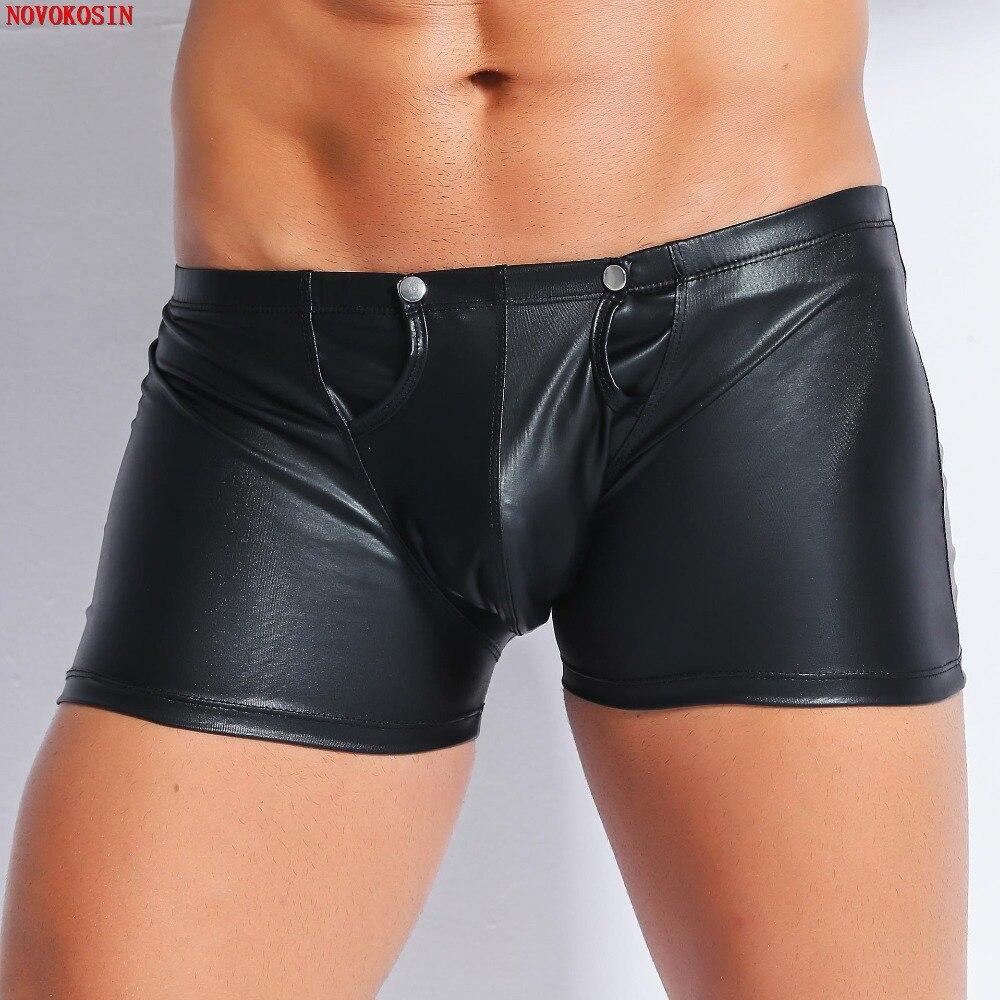 XX126 2018 Sexy Rivet Back Zipper Elastic Panties Faux Leather Four Boxer Shorts Open Crotch Bodysuit Lingerie Men Underwear