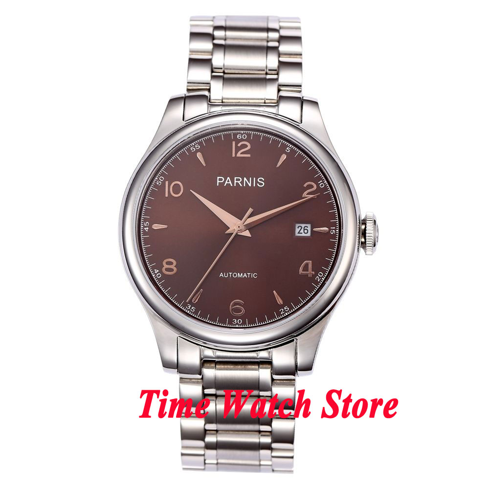 Parnis 38mm brown dial date sapphire glass 21 jewels MIYOTA Automatic movement Men's watch 723 38mm parnis white dial date sapphire glass miyota automatic mens watch p723