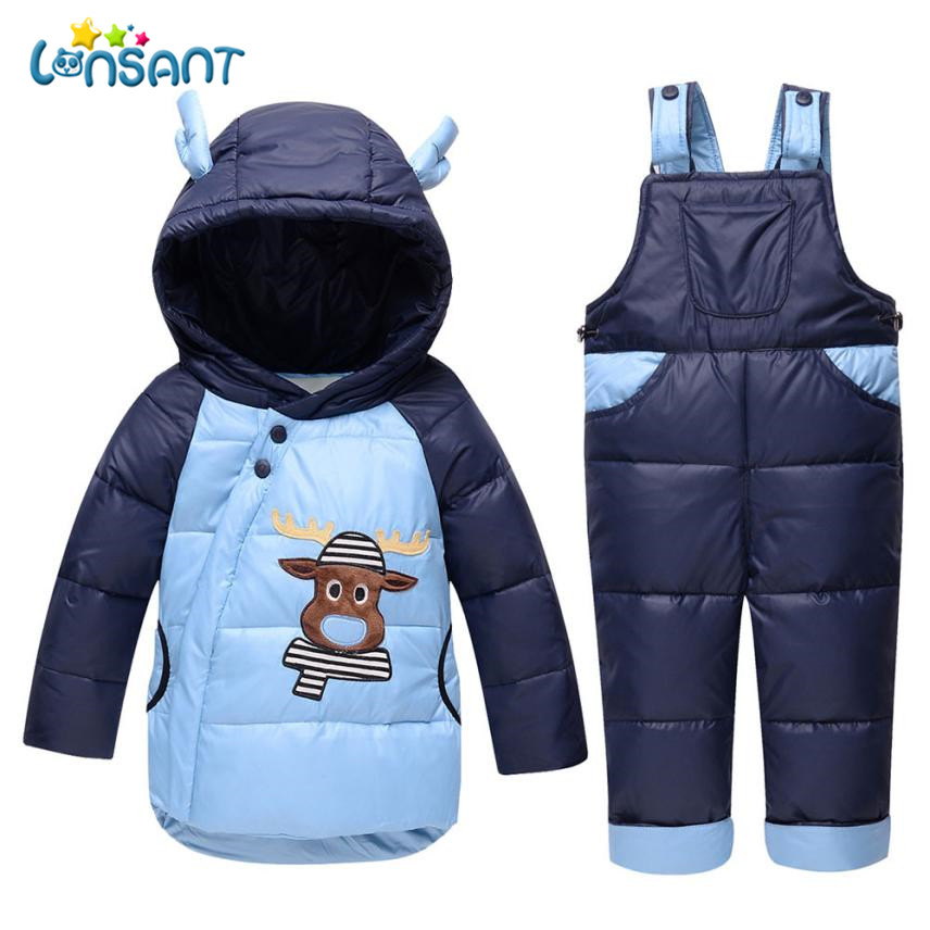 LONSANT Clothing Sets Children Boys Girls Winter Warm Clothes Jacket Suit Sets Thick Coat Jumpsuit Clothes Set L2935 2017 new children clothing sets baby girls boys winter warm clothes 2pcs cute panda velvet christmas outfits suit shirt pant
