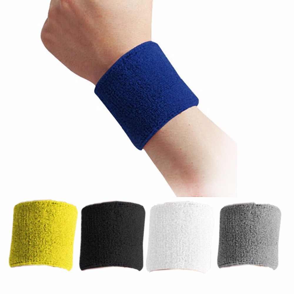Gumay 1 Piece Sport Wristband Wrist Dukungan Brace Wrap Perban Gym Menjalankan Olahraga Keselamatan Bulutangkis Terry Kain Katun Keringat Band напульсник