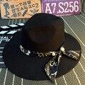 Británica de Moda de corea Perla Cinta Sombrero de Lana Sombrero de Ala Ancha y Un Sombrero de Ala Ancha Shading Femenino de Corea