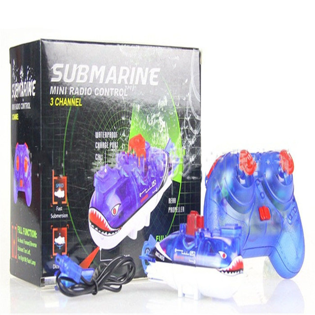 1 piece  3-Channel electric model toy remote control shark submarine
