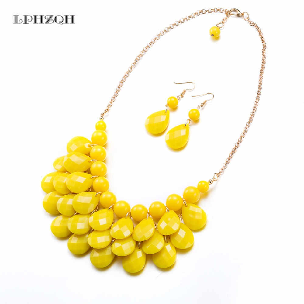 2018 Fashion Jewelry Sets Handmade Gold Chain Yellow Resin Crystal Bead Dubai Jewelry Sets Vintage Party Acessories Gifts B-0063