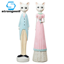 Cute Cat Doll Resin Crafts Model Cartoon Cat Ornament Decoration Accessories Figurine Home Living Room Decor Birthday Gifts Toy стоимость