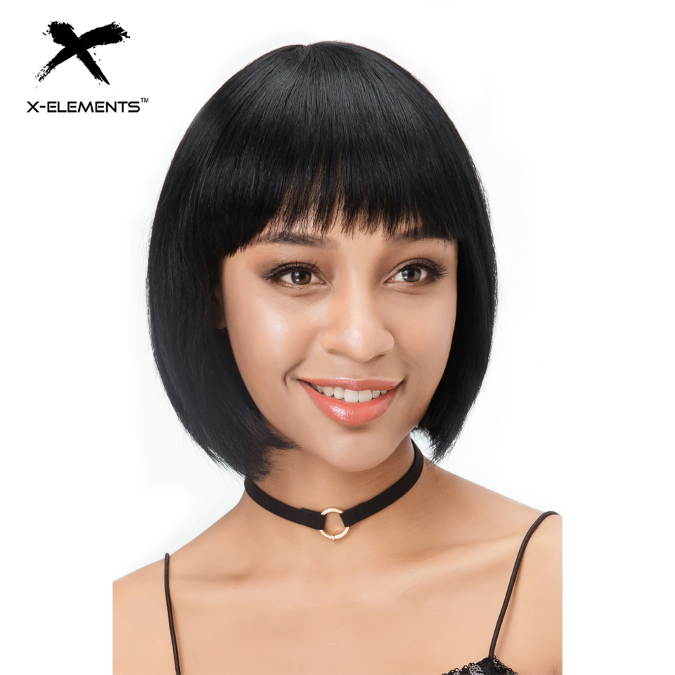 X-Éléments Courts Raides Noir Bob Perruques de Cheveux Humains Brésiliens Remy de Cheveux Humains Perruques Pour Les Femmes 10 pouces H. BRZANICE