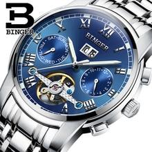 Suiza BINGER relojes hombres marca de lujo de Tourbillon zafiro luminoso de múltiples funciones de Pulsera Mecánicos B8601-5