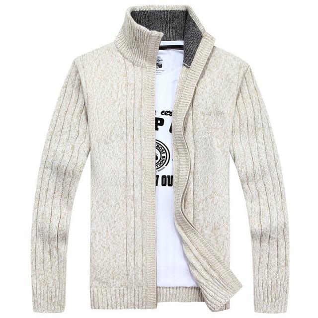 Homem inverno Camisola Homens cardigan grosso suéter de cashmere Gola outerwear inverno Ocasional Marca Zíper De Lã Camisola Tamanho 3XL