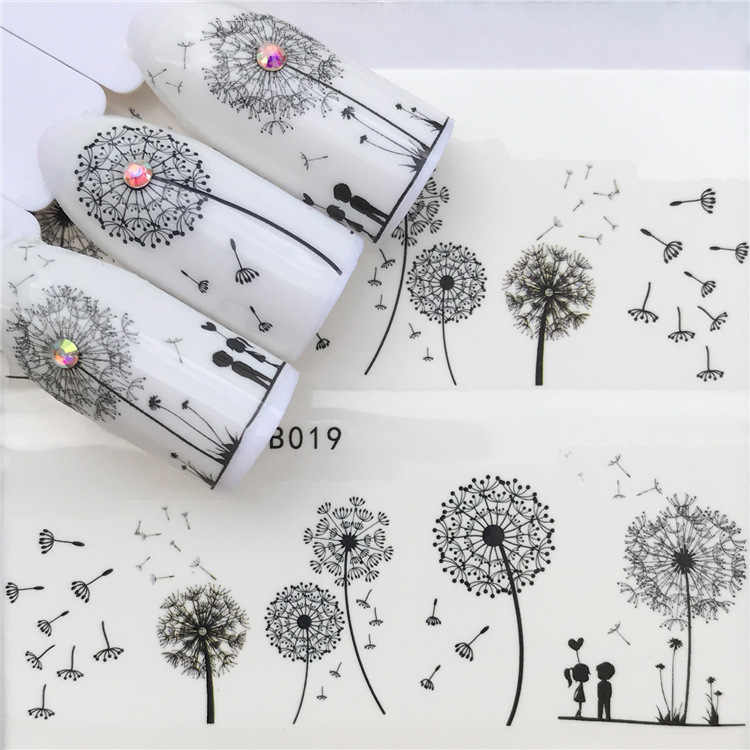 Stickers for Nails Water Decals Dandelion Nail Sticker Slider Art design Decoration Manicure Foil Adhesive Wraps Tools Pegatinas