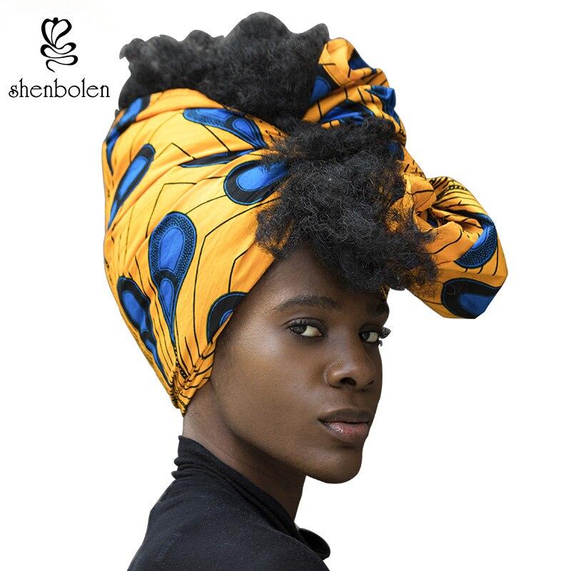 Las mujeres africanas Headtie cabeza tradicional abrigo pañuelo bufanda pañuelo turbante dashiki cera tela 100% algodón 71*21 pulgadas