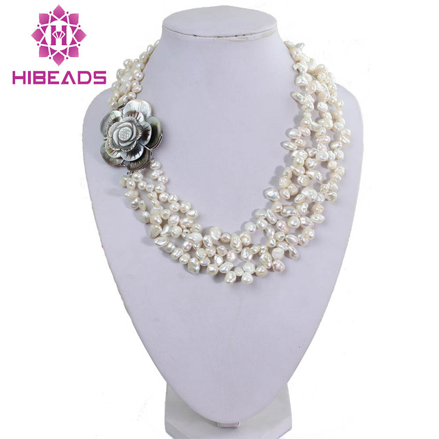 3 Strands Charming Keshi Pearl Necklace White Reborn Pearl Jewelry Hot Sale  Party Pearl Necklace Free Shipping FP026 ba0a3d09f0