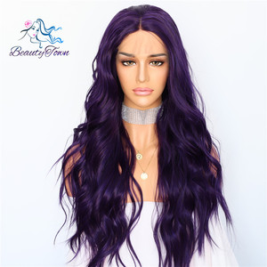 Image 1 - BeautyTown Silk Purple Color Natural Wave Daily Makeup Women Queen Present Wedding Halloween Party Synthetic Lace Front Wigs