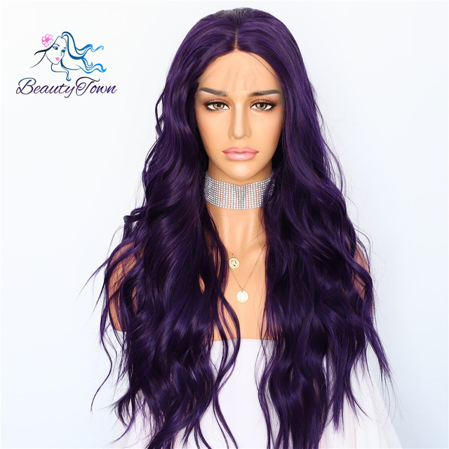 BeautyTown Silk Purple Color Natural Wave Daily Makeup Women Queen Present Wedding Halloween Party Synthetic Lace Front Wigs
