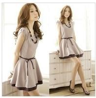 Free shipping The new han edition lady OL show thin waist vest, backing chiffon dress