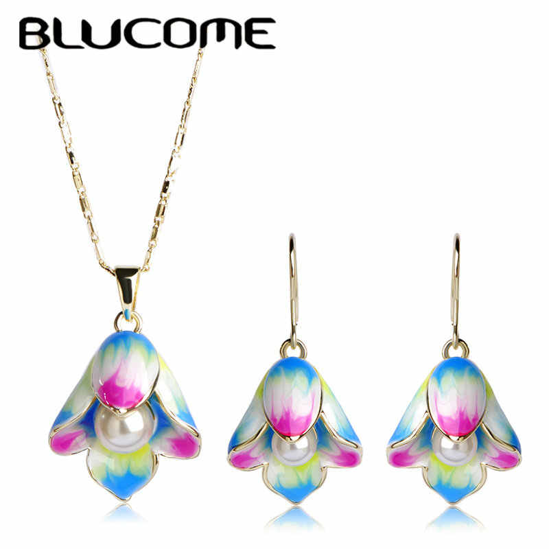 Blucome Artificial Pearl Jewelry Sets Chinese Flower Enamel Pendant Statement Necklace Max Brincos Women Wedding Accessories