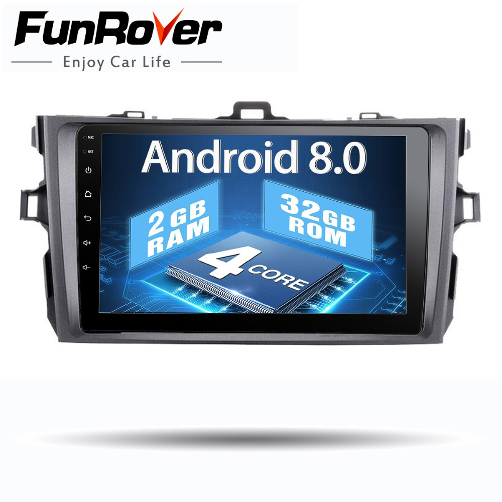 Funrover 2 din Android 8.0 Voiture radio multimédia dvd gps Lecteur Pour Toyota Corolla 2007 2008 2009 2010 2011 voiture stéréo navigation